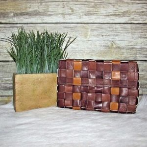 Soy Nica Tan Brown Woven Braided Clutch Bag Wallet